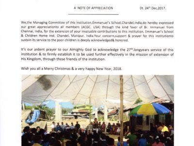 INDIA | YJM Ministry Partner – EMMANUEL'S SCHOOL Chandel, Manipur