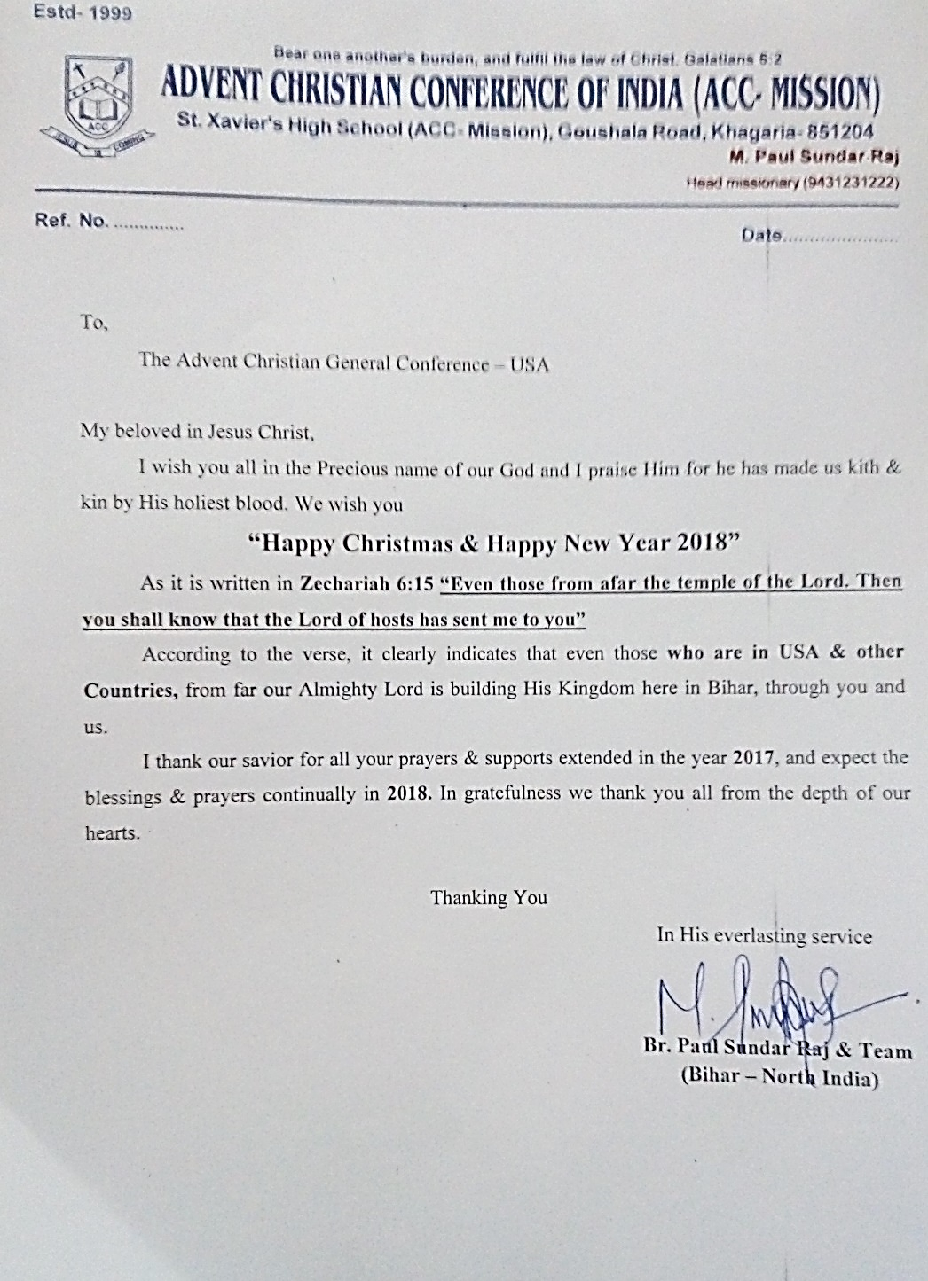 India letter of appreciation from pastor paul sundar raj acmissionz he has also sent pictures of the key members of his team both at st xaviers high school and of the outreach ministries and asks for regular thecheapjerseys Gallery
